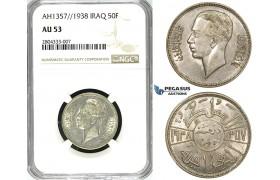 R713, Iraq, Ghazi I, 50 Fils AH1357 / 1938, Bombay, Silver, NGC AU53