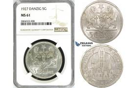 R714, Poland, Danzig, 5 Gulden 1927 (Marienkirche) Silver, NGC MS61