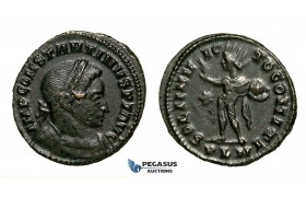 ZG40, Roman Empire, Constantine I (306-337 AD), Æ Nummus (3.61g) Londinium (London) Sol Standing, Brown VF-EF