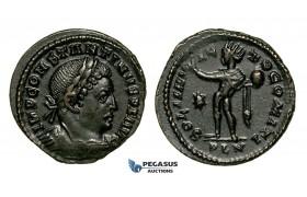 ZG44, Roman Empire, Constantine I (306-337 AD), Æ Nummus (3.42g) Londinium (London) Sol Standing, Brown VF-EF