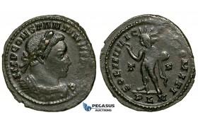 ZG47, Roman Empire, Constantine I (306-337 AD), Æ Nummus (4.46g) Londinium (London) Sol Standing, Brown VF