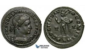 ZG48, Roman Empire, Constantine I (306-337 AD), Æ Nummus (4.81g) Londinium (London) Sol Standing, Brown Good VF