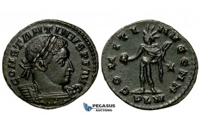 ZG49, Roman Empire, Constantine I (306-337 AD), Æ Nummus (3.91g) Londinium (London) Sol Standing, Brown VF-EF