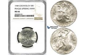 ZG57, Czechoslovakia, 50 Korun 1948 (Prague Uprising Anniv.) Silver, NGC MS66