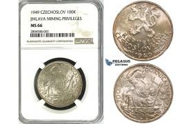ZG58, Czechoslovakia, 100 Korun 1949 (Jihlava Mining Privileges) Silver, NGC MS66