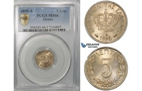 ZG67, Greece, George I, 5 Lepta 1895-A, Paris, PCGS MS66