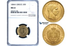 ZG69, Greece, George I, 20 Drachmai 1884-A, Paris, Gold, NGC MS61