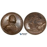 ZG77, Russia, Peter I, Bronze Medal (Ø 47mm, 40.87g) by T. Ivanov, Commemorating the conquest of Viborg (Sweden) 1710, 19th Century Restrike
