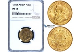 ZG79, South Africa (ZAR) Pond 1898, Gold, NGC MS63