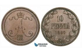 ZG88, Finland (under Russia) Alexander III, 10 Penniä 1890, Brown XF, Rare!