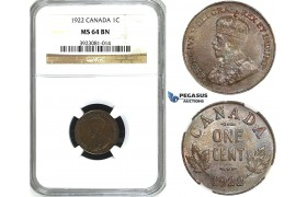 ZG99, Canada, George V, 1 Cent 1922, NGC MS64BN, Rare!