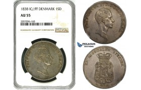ZH07, Denmark, Frederik VI, 1 Speciedaler 1838 FF, Altona, Silver, H 26D, NGC AU55