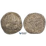 ZH13, France, Henry III, Teston MDLXXV (1575) Bordeaux, Silver (9.52g) Sb.4646, gVF, Rare!