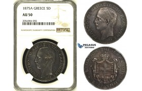 ZH26, Greece, George I, 5 Drachmai 1875-A, Paris, Silver, NGC AU50