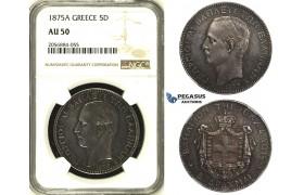 ZH26, Greece, George I, 5 Drachmai 1875-A, Paris, Silver, NGC AU50