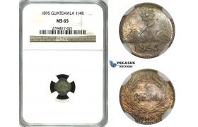 ZH27, Guatemala, 1/4 Real 1895, Silver, NGC MS65 (Rainbow toning)