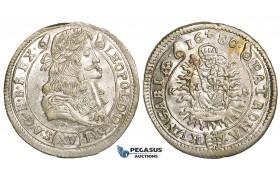 ZH36, Hungary, Leopold I, XV Krajczar 1680-KB, Kremnitz, SIlver (6.93g) Lustrous EF-UNC