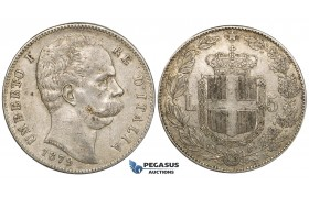 ZH39, Italy, Umberto I, 5 Lire 1879-R, Rome, Silver, Lustrous VF-EF