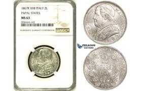 ZH40, Italy, Papal States, Pius IX, 2 Lire 1867 (XXII) R, Rome, Silver, NGC MS63