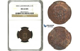 ZH43, Luxembourg, William III, 2 1/2 Centimes 1854, Brussels, NGC MS64BN