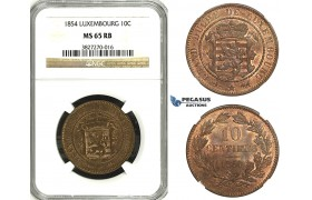 ZH44, Luxembourg, William III, 10 Centimes 1854, Brussels, NGC MS65RB Pop 1/0, Finest!