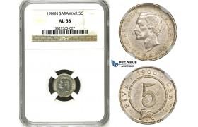 ZH78, Sarawak, C. Brooke Rajah, 5 Cents 1900-H, Heaton, Silver, NGC AU58