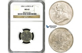 ZH81, South Africa (ZAR) Sixpence (6P) 1896, Silver, NGC MS62