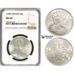 ZH91, Straits Settlements, Edward VII, Dollar 1908, Silver, NGC MS61