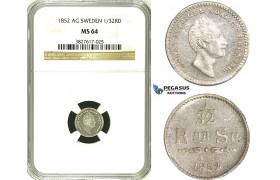 ZH92, Sweden, Oscar I, 1/32 Riksdaler Sp. 1852 AG, Stockholm, Silver, NGC MS64