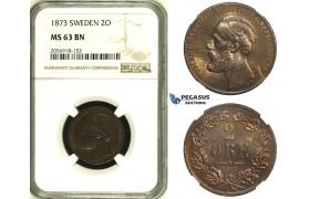 ZH93, Sweden, Oscar II, 2 Öre 1873, Stockholm, NGC MS63BN