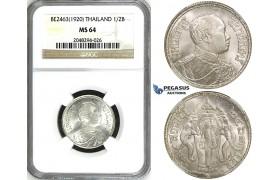 ZH95, Thailand, Rama VI, 1/2 Baht BE2463 (1920) Silver, NGC MS64