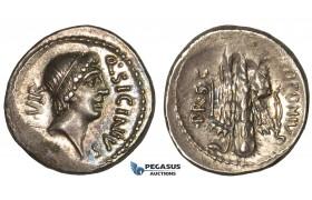 ZH97, Roman Republic, Q. Sicinius & C. Coponius (49 BC) AR Denarius (3.82g) Club, Lustrous EF