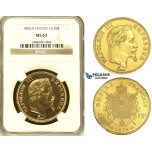 ZI06, France, Napoleon III, 100 Francs 1865-A, Paris, Gold, NGC MS63 (Prooflike fields)