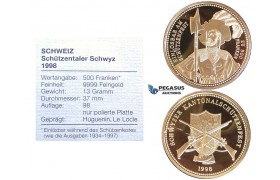 ZI12, Switzerland, Schwyz, 500 Francs 1998, Huguenin, Le Locle, Gold, Mintage 98pcs. Ch Proof, COA+Box