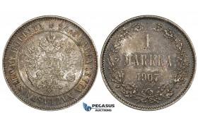 ZI14, Finland (under Russia) Nicholas II, 1 Markka 1907-L, Silver, Toned aUNC