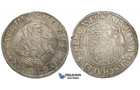 ZI21, Germany, Saxony, Moritz, Taler 1553, Annaberg, Silver (28.98g) gVF (Some cleaning)