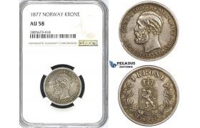 ZI24, Norway, Oscar II, 1 Krone 1877, Kongsberg, Silver, NGC AU58 (Fine toning!)