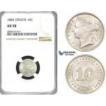 ZI29, Straits Settlements, Victoria, 10 Cents 1885, Silver, NGC AU58