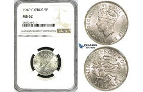 ZI35, Cyprus, George VI, 9 Piastres 1940, London, Silver, NGC MS62