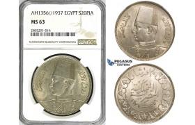 ZI39, Egypt, Farouk, 20 Piastres AH1356 / 1937, Silver, NGC MS63