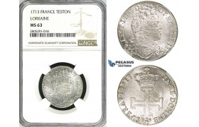 ZI44, France, Lorraine, Leopold I, Teston 1713, Silver, NGC MS63