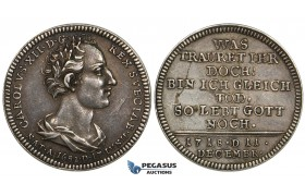 ZI46, Germany, Pomerania, Karl XII of Sweden, Silver strike from Ducat (Dukat) dies 1718, Sttetin, Silver (2.65g) Toned EF, Rare!