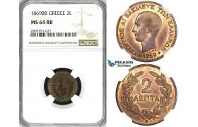 ZI54, Greece, George I, 2 Lepta 1869-BB, Strasbourg, NGC MS64RB