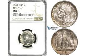 ZI56, Italy,  Vit. Manuele III, 5 Lire 1927-R, Rome, Silver, NGC MS64