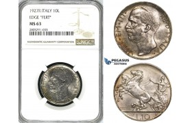 ZI57, Italy,  Vit. Manuele III, 10 Lire 1927-R, Rome, Silver, NGC MS63