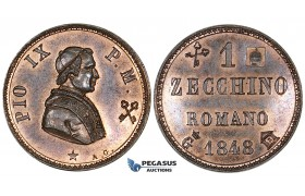 ZI58, Italy, Papal, Pius IX, 1 Zecchino 1848-G, Gaeta, Copper, Red Brown UNC, Rare!