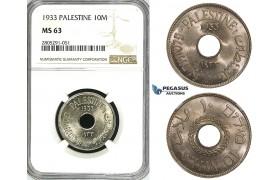 ZI60, Palestine, 10 Mils 1933, London, NGC MS63