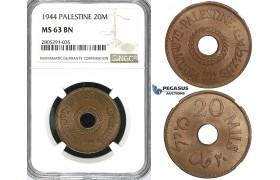 ZI61, Palestine, 20 Mils 1944, London, NGC MS63