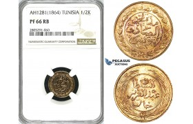 ZI81, Tunisia, 1/2 Kharub AH1281 / 1864, NGC PF66RB, Pop 1/0, Finest!