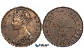 ZI92, Hong Kong, Victoria, 1 Cent 1875, Cleaned XF